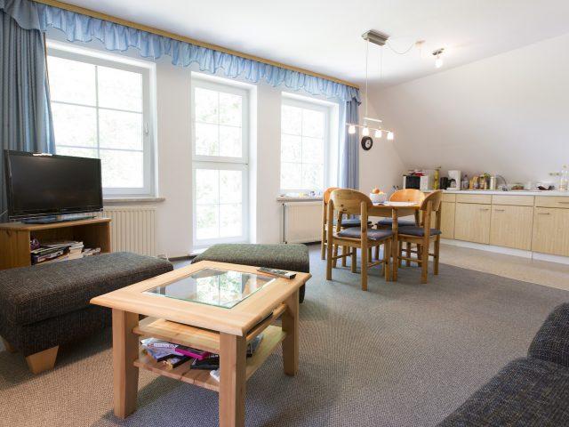 Ferienwohnung Hasenwinkel Wohnzimmer mit offener Küche