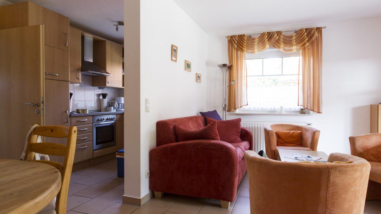 Ferienwohnung Schwalbennest Wohnzimmer und Küche